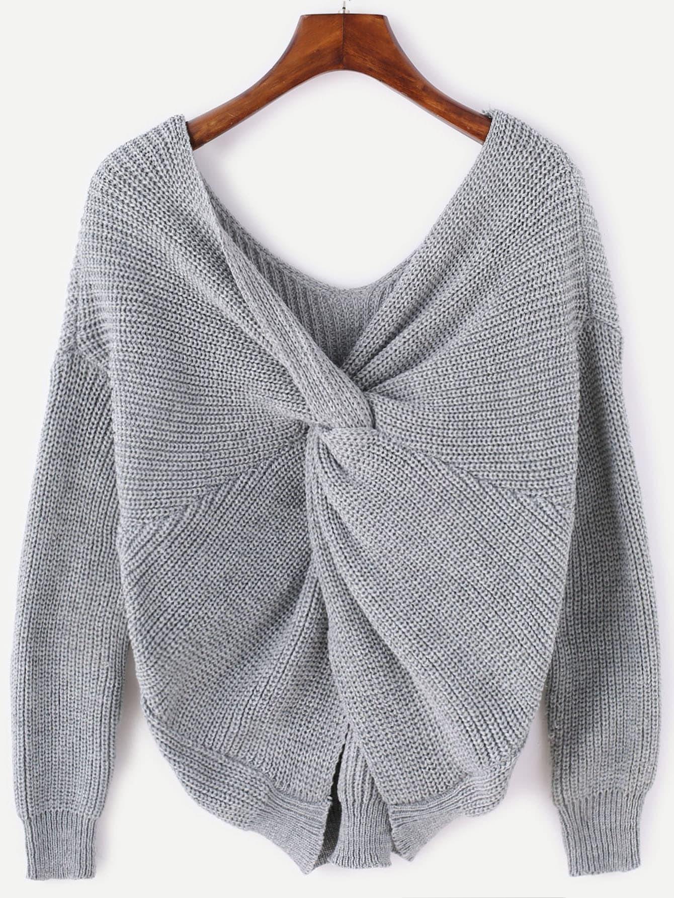 Grey V Neck Twist Back SweaterFor Women-romwe