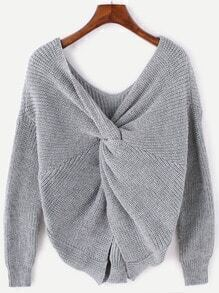 Grey V Neck Twist Back Sweater