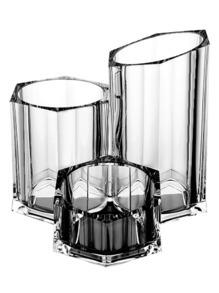 Bote de cepillos de maquillaje transparente