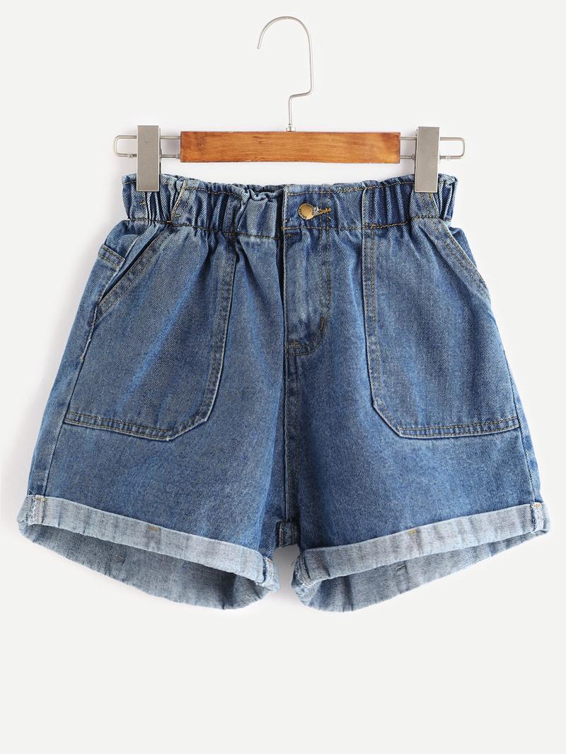 0c854b754f Blue Elastic Waist Rolled Hem Denim Shorts