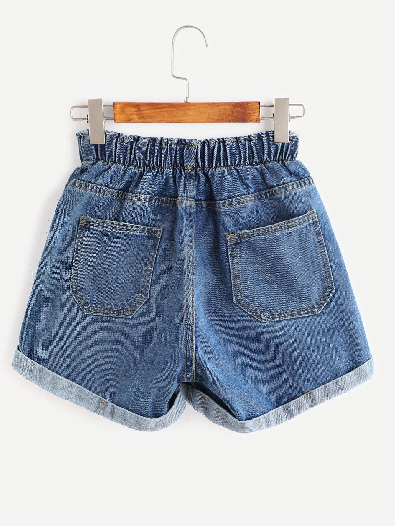 3cf8c0d3d9 Blue Elastic Waist Rolled Hem Denim Shorts   ROMWE