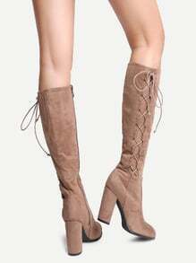 Khaki Faux Suede Lace Up Side High Heel Boots