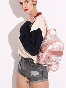 Pink Zip Front Velvet Backpack With Leather Strap