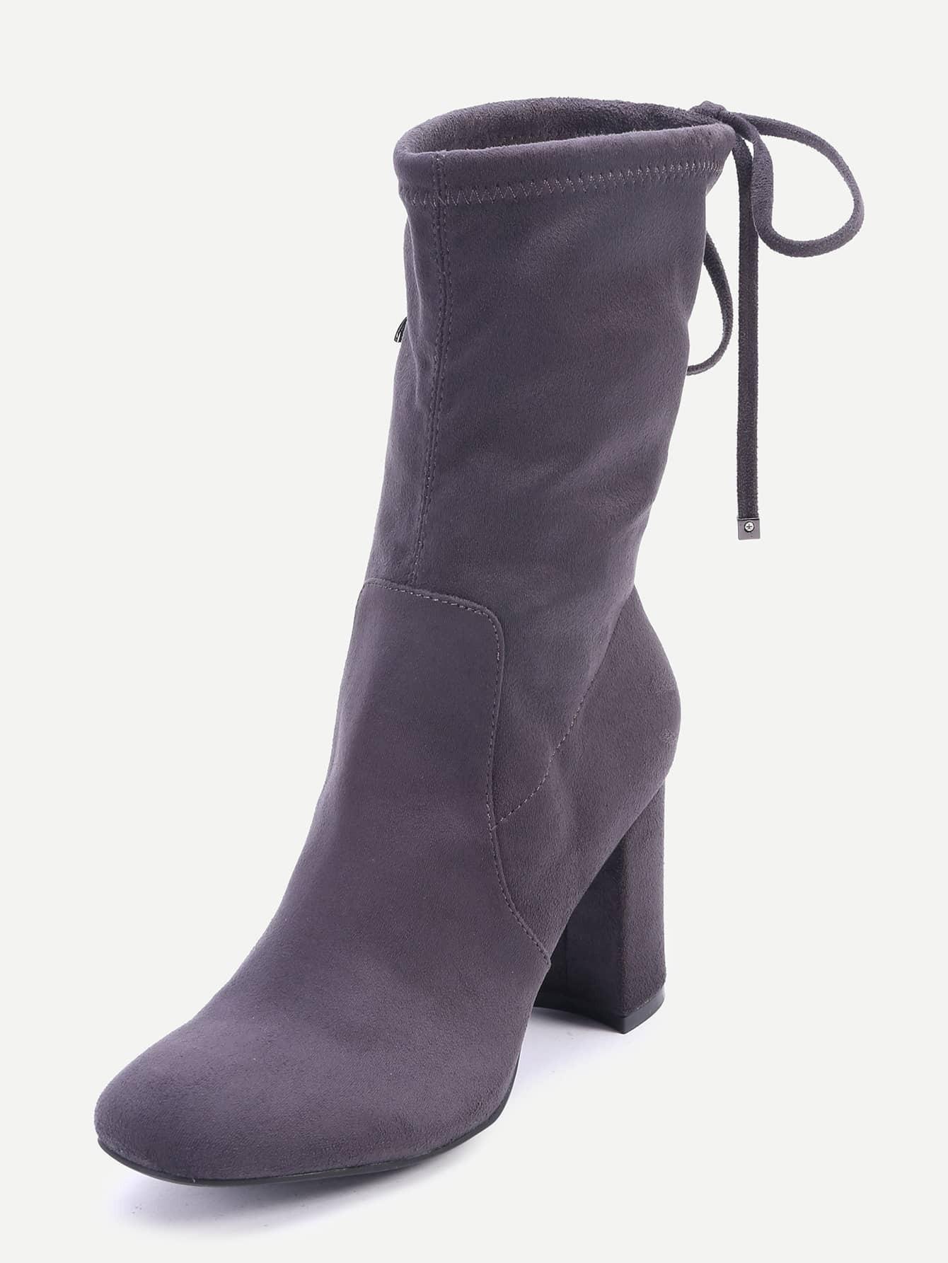 Grey High Heels Tie Back Short Boots