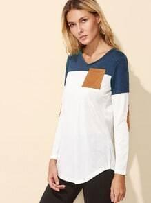 Color Block Elbow Patch Curved Hem T-shirt