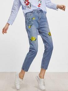 Blue Bleached Flower Embroidery Jeans