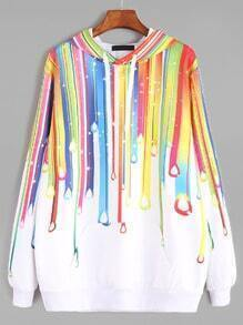 White Paint Drip Print Drawstring Hooded Sweatshirt
