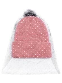 Pink Pom Pom Ribbed Knit Hat with Polka Dot Mesh