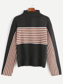 Black Striped Drop Shoulder Funnel Neck Sweater