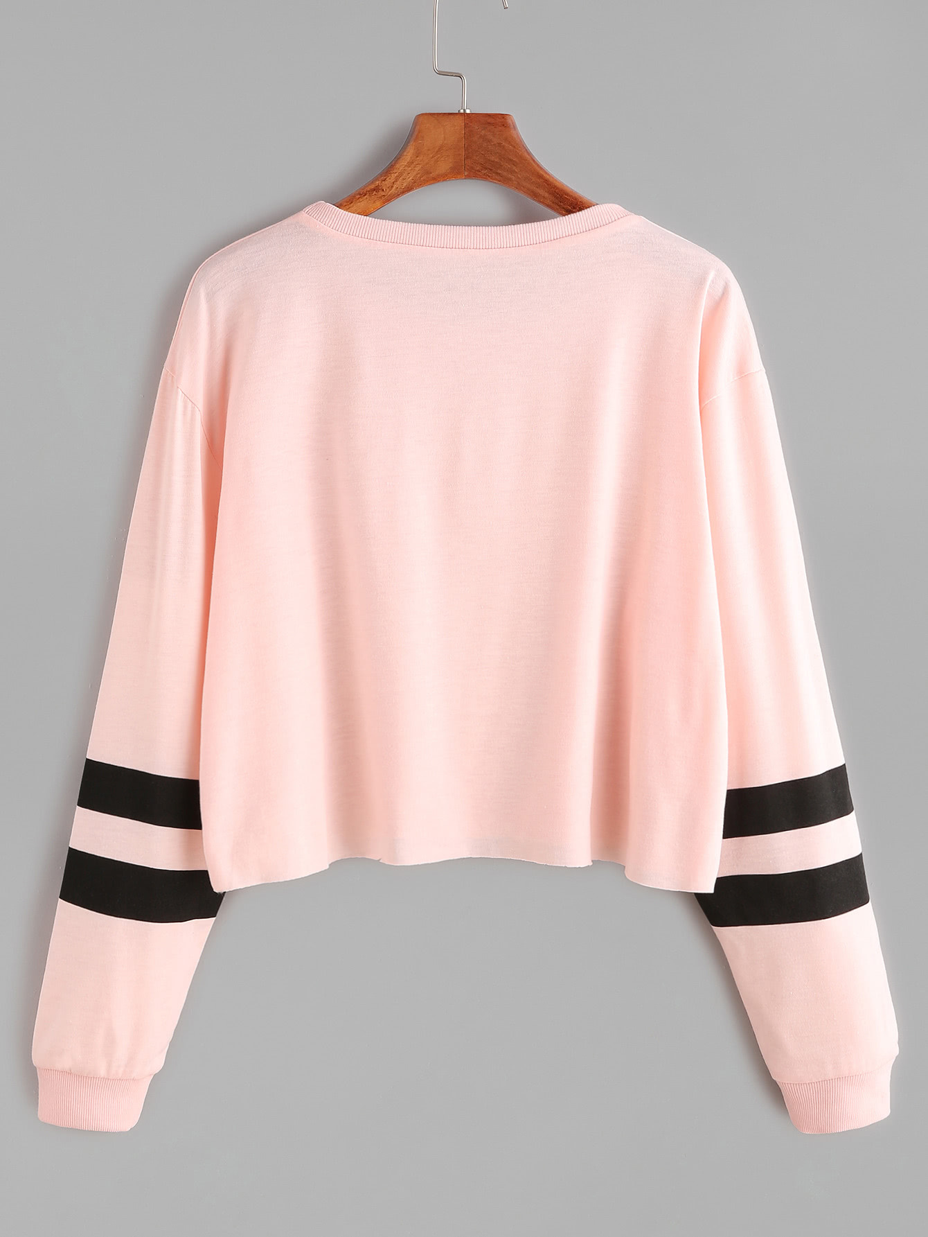 1ad53e5438 Pink Varsity Striped Sleeve Crop T-shirt | ROMWE