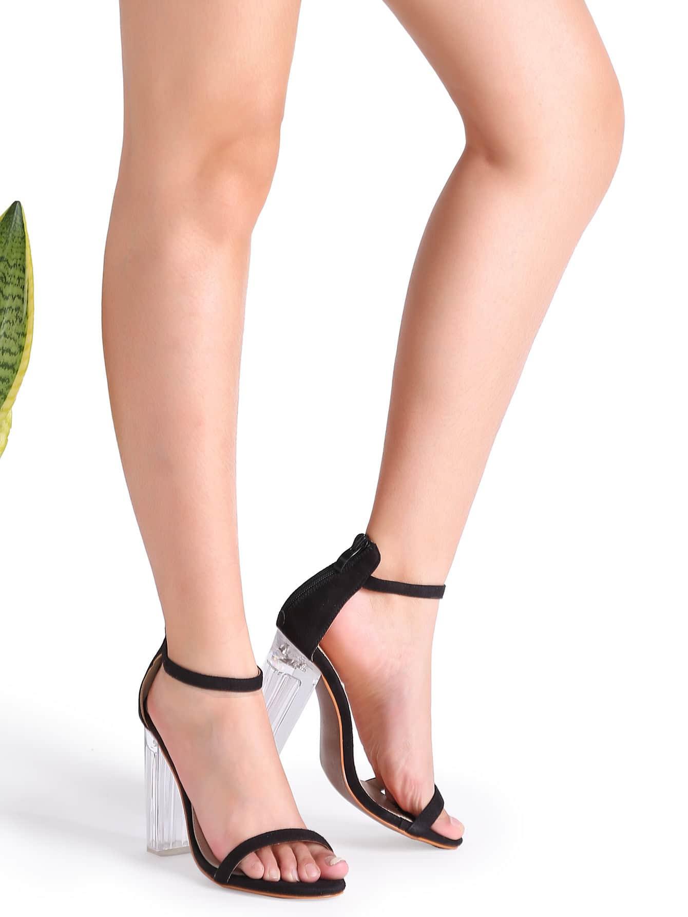 chaussures talon haut pure avec sangle sur cheville noir french romwe. Black Bedroom Furniture Sets. Home Design Ideas