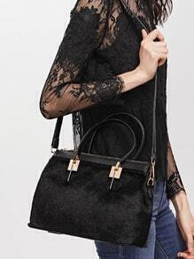 Black Horse Hair Covered PU Shoulder Bag