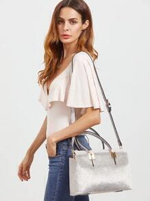 Grey Horse Hair Covered PU Shoulder Bag