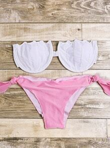 Contrast Mermaid Shell Bandeau Bikini Set