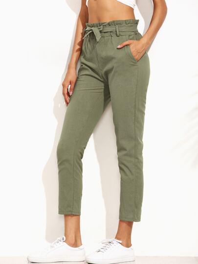 c75f0b73bb Pantalones volantes cintura con cordón - verde militar