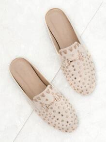 White Gold Stud Embellished Slip-on Loafers