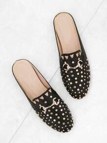 Black Gold Stud Embellished Slip-on Loafers