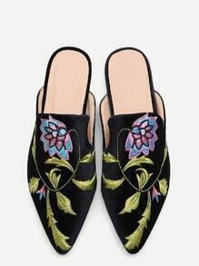 Black Floral Embroidered Velvet Loafer Slippers