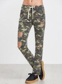 Pantalons imprimé camouflage effet déchiré - olivacé