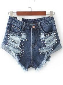 Blue Ripped Rivet Detail Denim Shorts