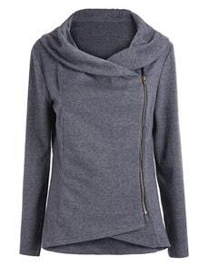 Dark Grey Long Sleeve Asymmetric Zip Outerwear