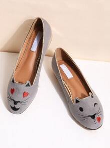Grey Cat Embroidery Ballet Flats