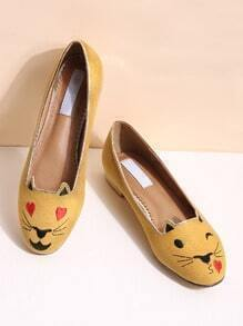Yellow Cat Embroidery Ballet Flats