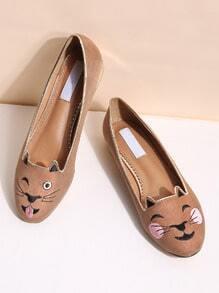 Khaki Cat Embroidery Ballet Flats