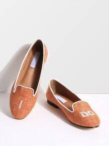 Orange Letter Embroidery Canvas Flats