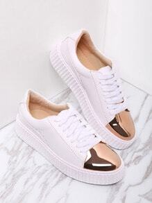 Zapatillas redondas en contraste - blanco
