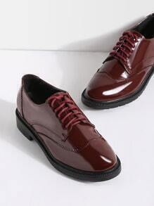Burgundy Lace Up Patent Leather Shoes