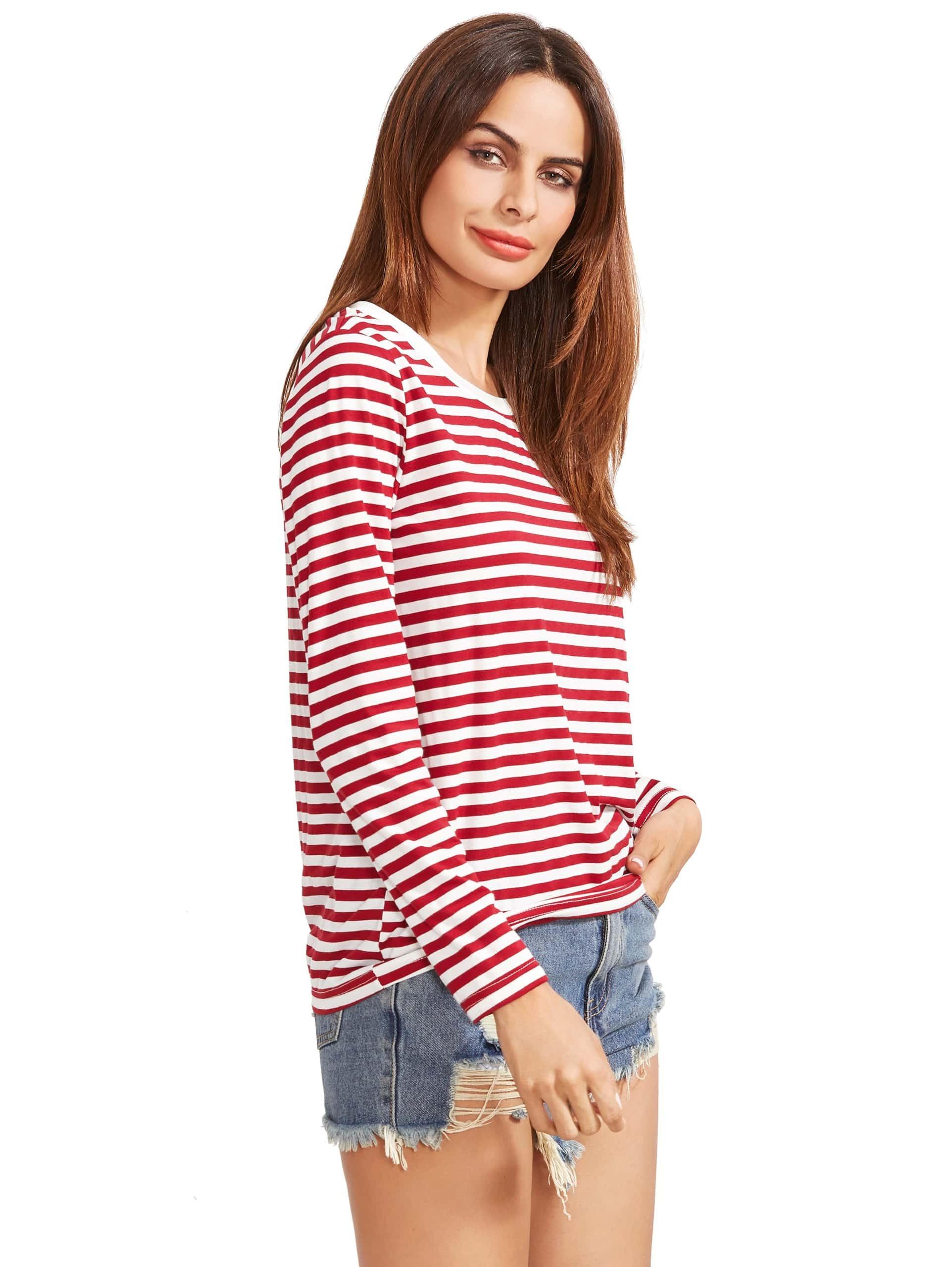 Burgundy striped long sleeve t shirtfor women romwe for Burgundy long sleeve t shirt womens