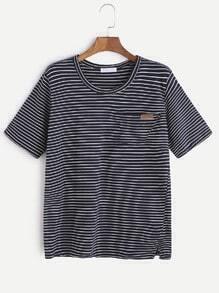 Camiseta rayada del bolsillo del dobladillo de l