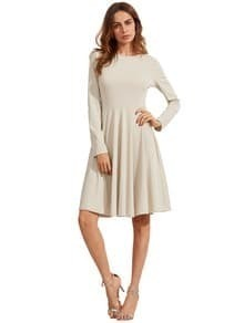 Grey Pleated Long Sleeve A-Line Dress