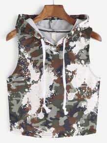 Camouflage Print Hooded Crop Top