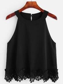 Black Crochet Trim Chiffon Halter Top