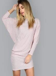 Pink Boat Neck Dolman Sleeve Blouson Dress