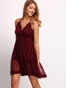 Burgundy Halter Backless Pleated Dress