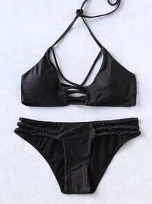 Black Cross Front Ladder Cutout Sexy Bikini Set