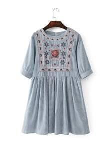 Blue Striped Embroidery Half Sleeve A line Dress