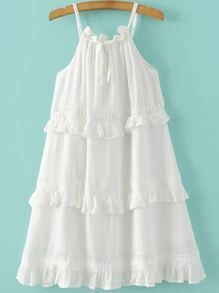 White Lace Up Ruffle Tiered Dress