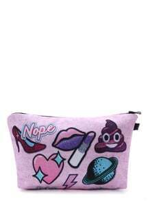 Pink Lip Patch Makeup Bag
