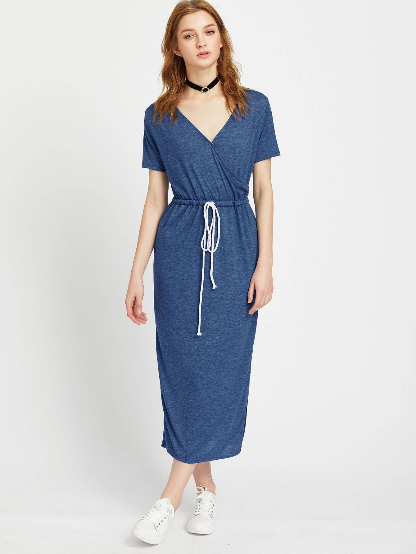 robe longue cache coeur taille coulissee french romwe With robe longue cache coeur