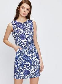 Blue Sleeveless Tribal Print Sheath Dress