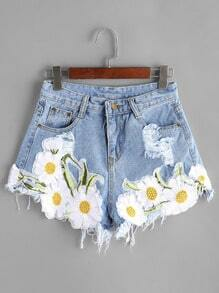 Light Blue Ripped Appliques Raw Hem Denim Shorts