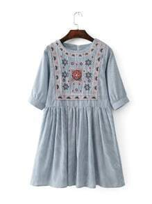 Blue Striped Embroidery Half Sleeve A line Dress