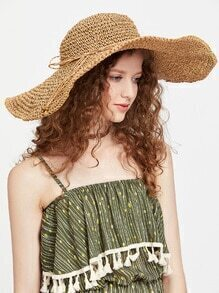 Coffee Straw Floppy Hat