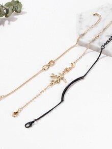 Gold And Black Letter Detail Link Bracelet Set