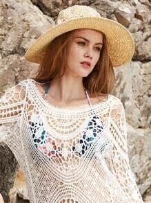 Sombrero de paja con detalle de flor con lazo - beis