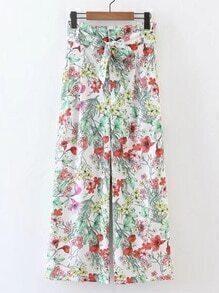 Pantalones con pernera ancha con estampado floral con cordón